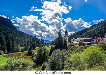 Dolomites 42 - Mazzin village in the Dolomites mountains of...