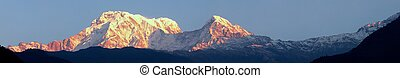 Annapurna Mountain - The Annapurna mountain range in the...