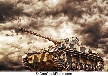 German Tank in action with dark storm clouds in background,...