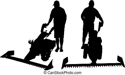mower - illustration of man with mower
