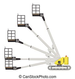 Boom lift - Illustration of boom lift with variety of angle...