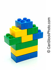 Lego House - Toy building blocks isolated against a white...