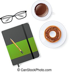 Scene with notebook and coffee - Vector illustration of...