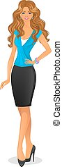 Beautiful and young woman - Vector illustration of Beautiful...