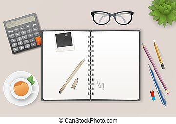 Workspace with notebook and tea - Vector illustration of...