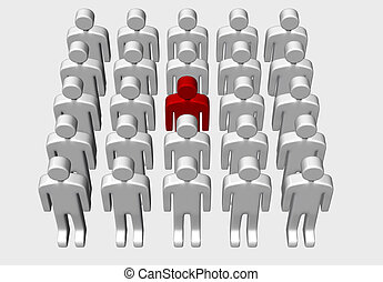 Men - 3D red and white - One red man standing out in a group...