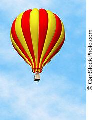 Balloon Hot Air - 3D render of a hot air balloon against a...
