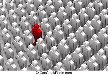 Men - 3D red and white - One red man standing out in a large...