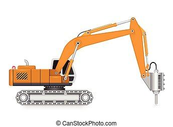 Machine - Illustration of demolish machine isolated on white...