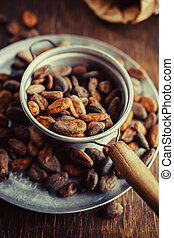 Cocoa beans in the dipper, close up