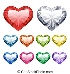 Vector Gem Hearts Set - Set of Vector Gem Hearts Icons for...