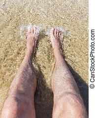 Refreshing at the beach - Legs and feetoin the sand in...