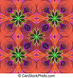 Pattern from fractal flowes in purple and green Computer...