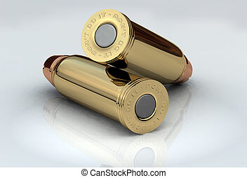 3D Bullets - Two brass chrome cartridges lying across