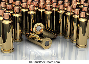 3D Bullets - Brass chrome cartridges standing in line