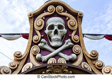 pirate skull - Pirate skull in a pirates ship