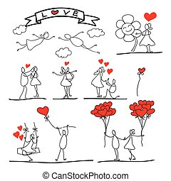 cartoon hand-drawn abstract love character - cartoon...