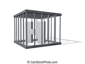 big H in a cage - uppercase letter H in a cage on white...