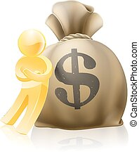 Man leaning on money sack - Illustration of a gold mascot...