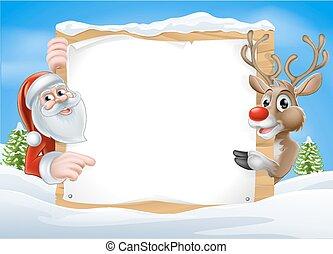 Christmas Reindeer and Santa Sign with cute cartoon Reindeer...