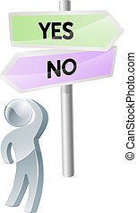 Yes or No decision - A person with a decision to make...