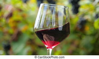 close up of a glass of red wine - hand shaking a glass...