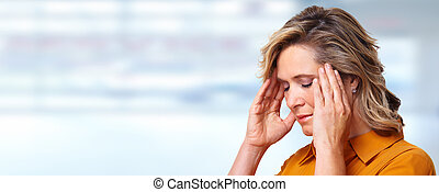 Woman having headache migraine Stress and depression