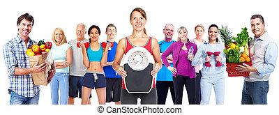 Grupo, de, esportiva, pessoas, com, vegetables.,