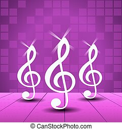 Purple Party background with treble clef