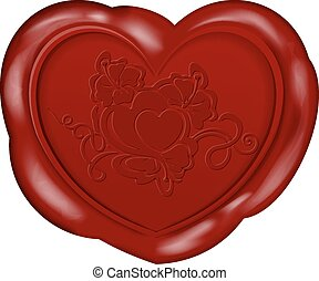 Wax Seal - Vector illustration of Heart shape wax seal for...