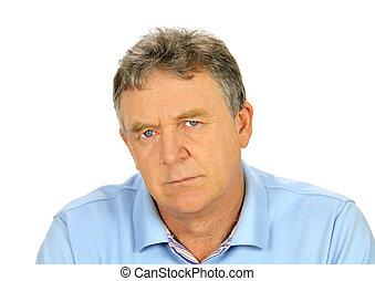 Brooding Middle Aged Man - Brooding middle aged man looks...