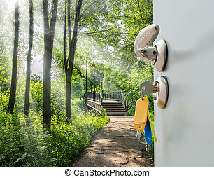 open door ladder - Open the door handle and keys with views...