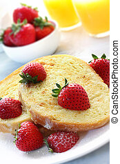French Toast with Strawberries - French toast with fresh...
