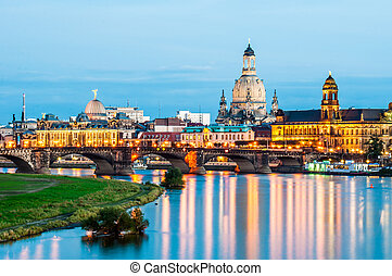 Dresden at night - illuminated skyline of Dresden, saxony in...
