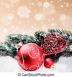 Christmas ornaments in red and green tone with copyspace