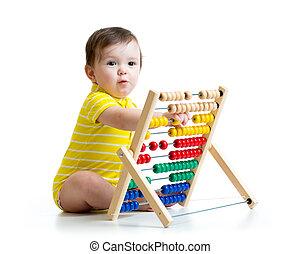 bebê, tocando, com, ábaco, brinquedo,