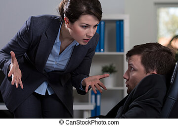 Workplace bullying - Horizontal view of victim of workplace...