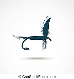 Fly-fishing on the gray backdrop Vector illustration