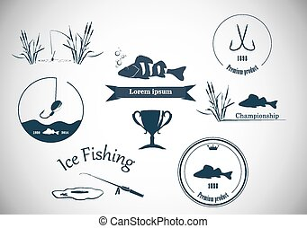 Fishing labels and design elements - Collection vintage...