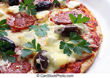 Pepperoni Pizza - Home-made pepperoni pizza, bubbling and...