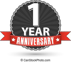 1 year anniversary retro label with red ribbon, vector...