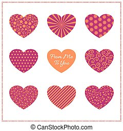 Background with bright hearts