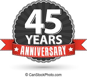 45 years anniversary retro label with red ribbon, vector...