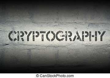 cryptography stencil print on the grunge white brick wall