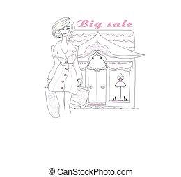 Stylish girl shopping , doodle illustration