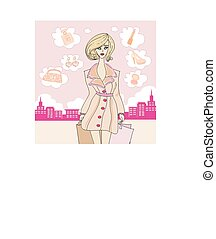 stylish shopping girl