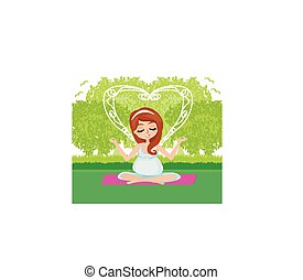 Pregnant woman relax doing yoga