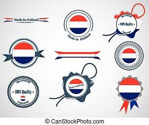 Made in Netherlands - set of seals, badges.