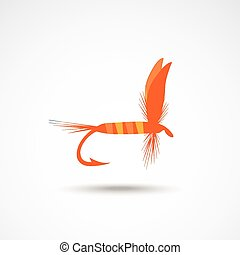 Fly-fishing on the gray backdrop. Vector illustration.