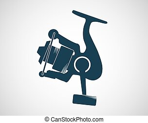 Fishing reel on the gray backdrop Vector